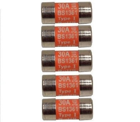 Pack of Five 30 Amp Consumer Unit Cartridge Fuse BS1361 Ovens Cookers Shower