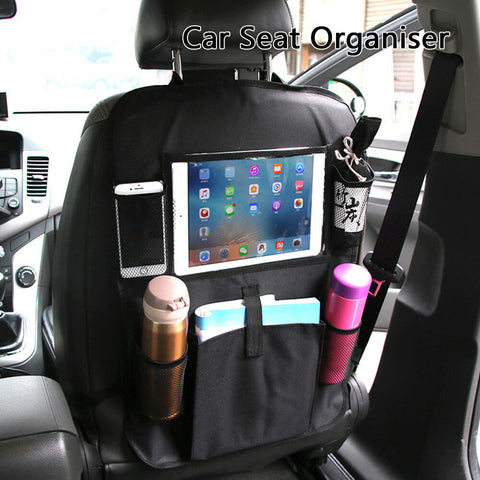 Car Back Seat Organiser Tablet iPad Holder Protector Kids Tidy Bottle Kick Mat