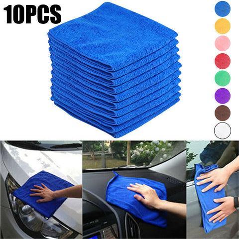 10pcs Microfibre Kitchen Wash Car Gym Drying Towel Glass Cleaning Cloth Soft UK
