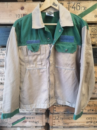 Two Tone Beige/Green Work Jacket