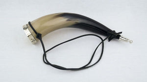 Drinking Horn with metal fittings and leather strap
