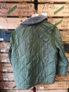 Hungarian Army Quilted Liner with Collar - Olive Green