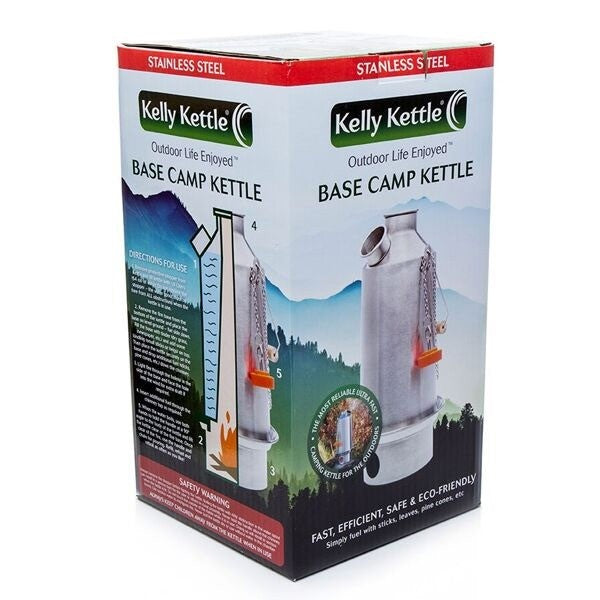 Large 'Base Camp' Stainless Steel Kelly Kettle® (1.6ltr / 2.6 UK pints)
