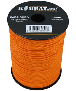 ParaCord on reel - 100m Neon Orange