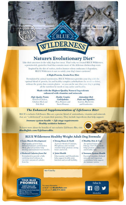 Blue Buffalo Wilderness Grain Free Healthy Weight Natural Chicken Recipe Adult Dry Dog Food