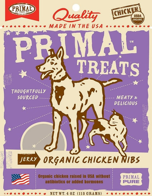 Primal Jerky Grain Free Organic Chicken Nibs Dog and Cat Treats