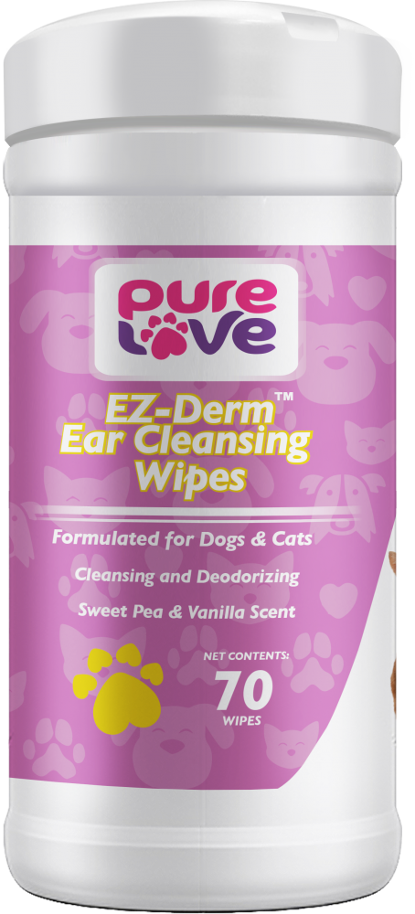 Pure Love EZ-Derm Sweet Pea & Vanilla Ear Cleansing Wipes for Dogs and Cats