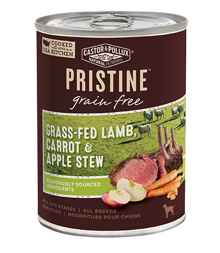 Castor and Pollux Pristine Grain Free Grass Fed Lamb, Carrot & Apple Stew Canned Dog Food
