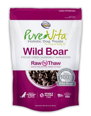 PureVita Grain Free Freeze Dried Wild Boar Delights Holistic Dog Treats