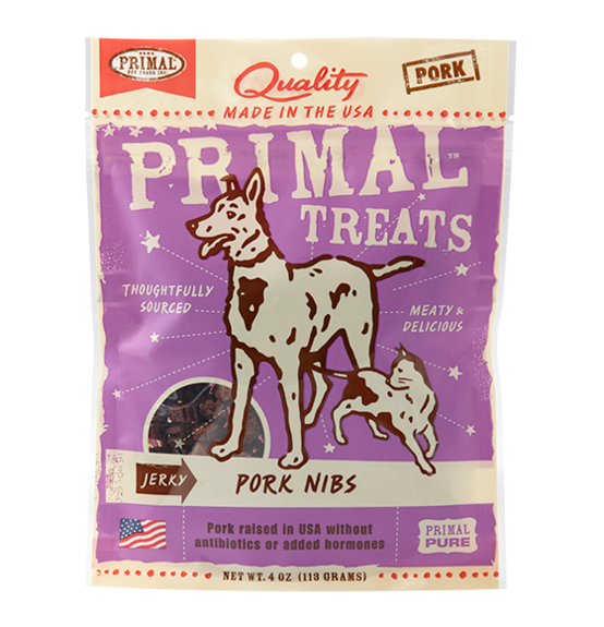 Primal Grain Free Jerky Pork Nibs Dog and Cat Treats