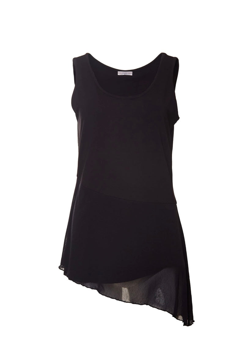Naya black asymmetrical sleeveless top