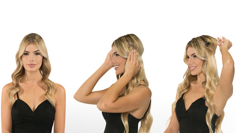 Woman with Invisible Halo Hair Extension