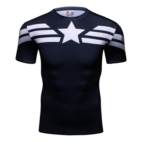 T-SHIRT COMPRESSION CAPTAIN AMERICA OFF