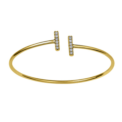 Flash Double Bar Lab-Grown Diamond Bangle - 14k Gold Over Sterling Silver