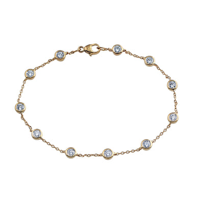 Phoenix Lab Grown Diamond Station Bracelet - 14k Gold Over Sterling