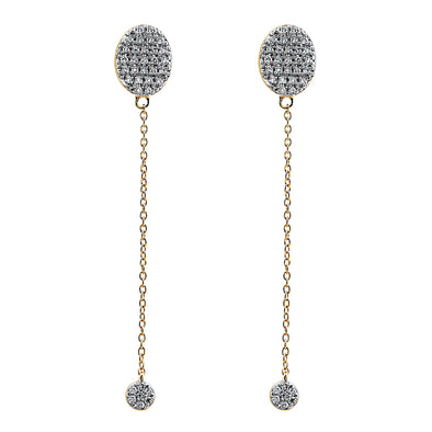 Blaze Lab Grown Diamond Long Drop Earrings - 14k Gold Over Sterling