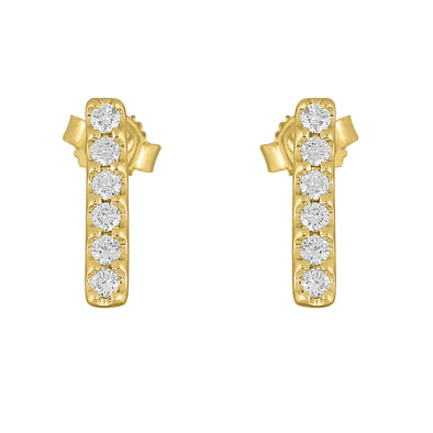 Flash Small Bar Lab-Grown Diamond Stud Earrings - 14k Gold Over Sterling Silver