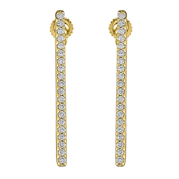 Flash Long Bar Lab-Grown Diamond Stud Earrings - 14k Gold Over Sterling Silver