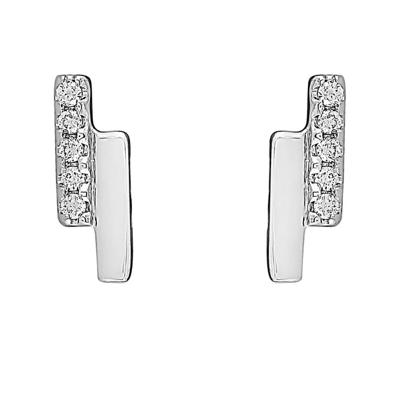 Flash Double Bar Lab-Grown Diamond Stud Earrings - Sterling Silver