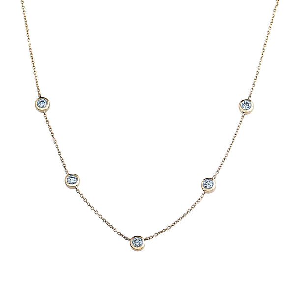 Phoenix Lab Grown Diamond Station Necklace - 14k Gold Over Sterling