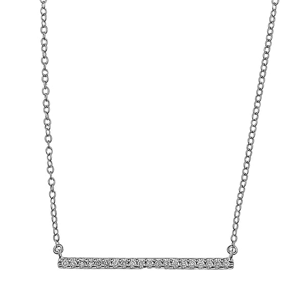 Flash Long Bar Lab-Grown Diamond Pendant - Sterling Silver