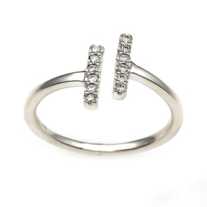 Flash Double Bar Lab-Grown Diamond Ring - Sterling Silver