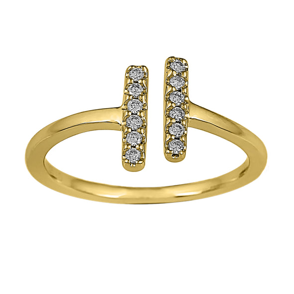 Flash Double Bar Lab-Grown Diamond Ring - 14k Gold Over Sterling Silver