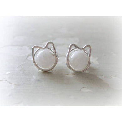 Contempo Jewelry Cat Stud Earrings Snow Agate & SS