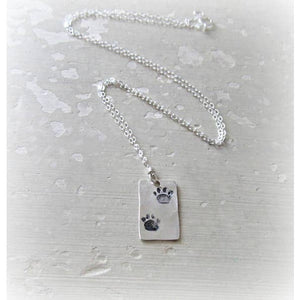 Contempo Jewelry Hammered Double Paw Print Sterling Necklace 18""
