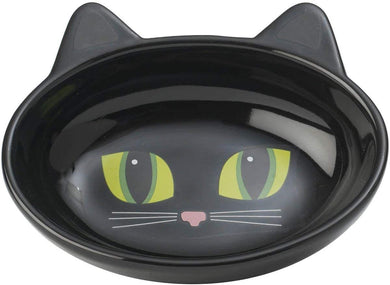 PetRageous Designs Frisky Kitty Oval Dish Black
