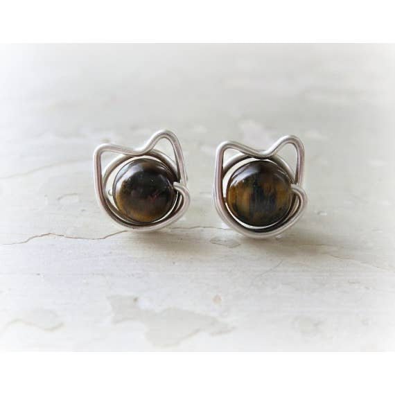 Contempo Jewelry Cat Stud Earrings Tiger Eye & SS