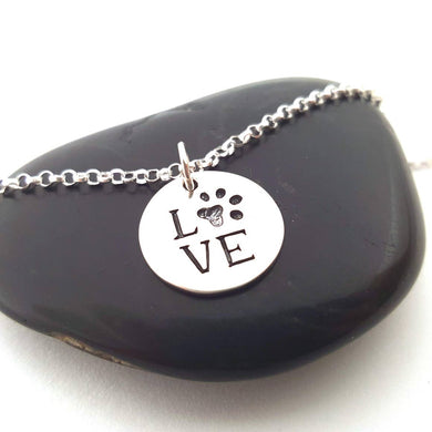 CY Design Studio Love Paw Necklace Sterling Silver 18