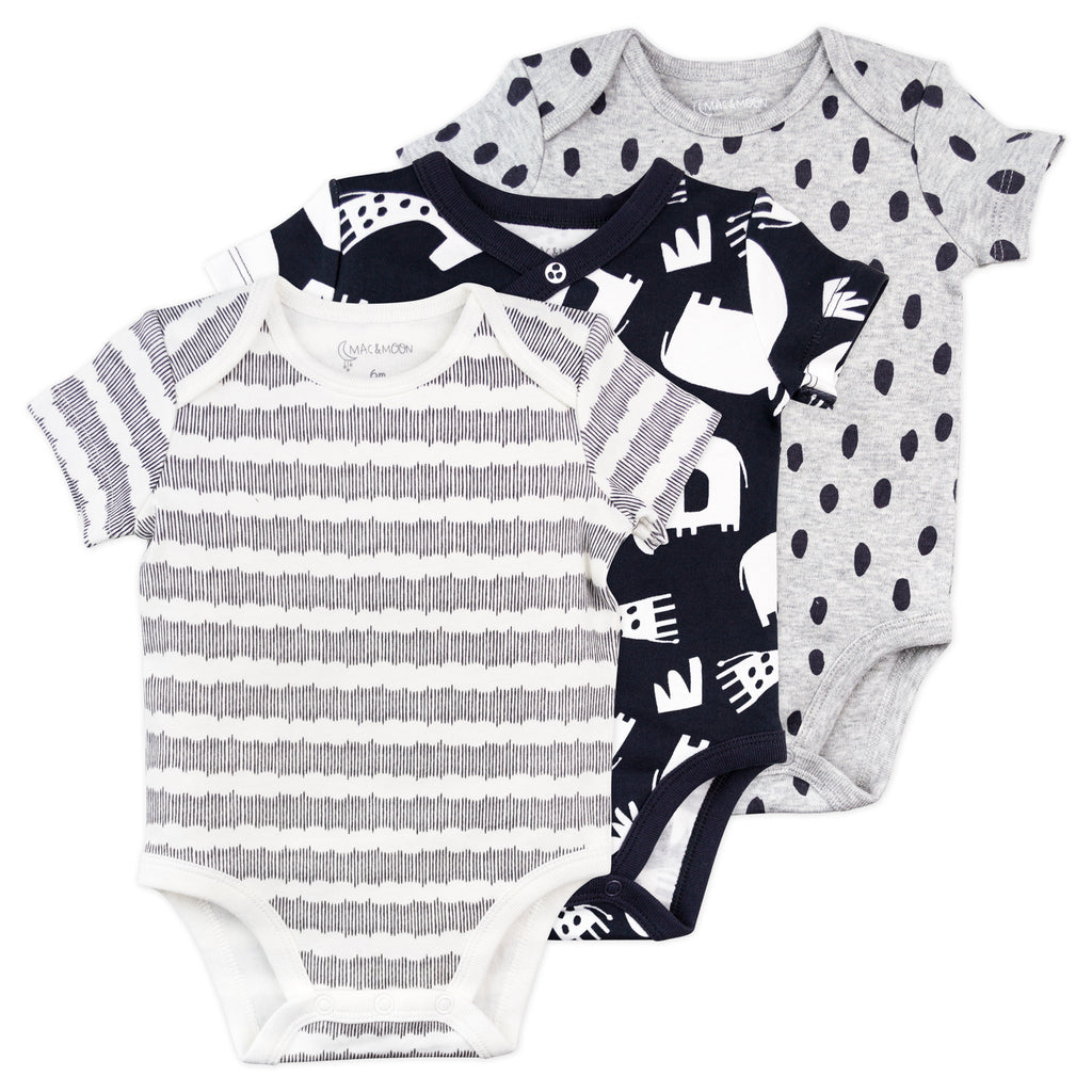 3-Pack Short Sleeve Bodysuit in Mono Animal Prints