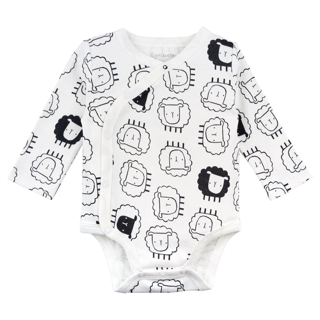 3-Pack Long Sleeve Bodysuits in Sheep Print
