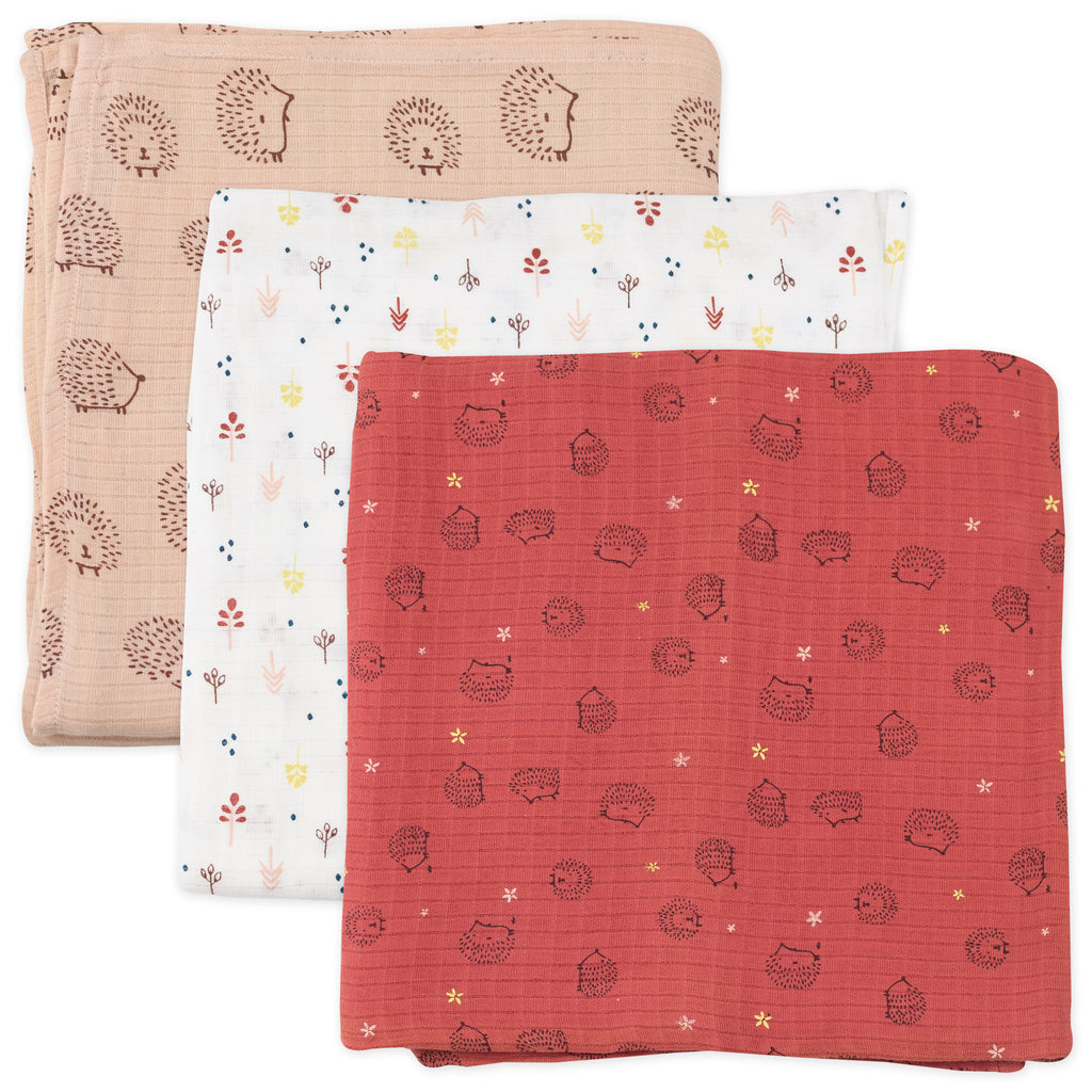 3-Pack Muslin Swaddles in Hedgehog Print