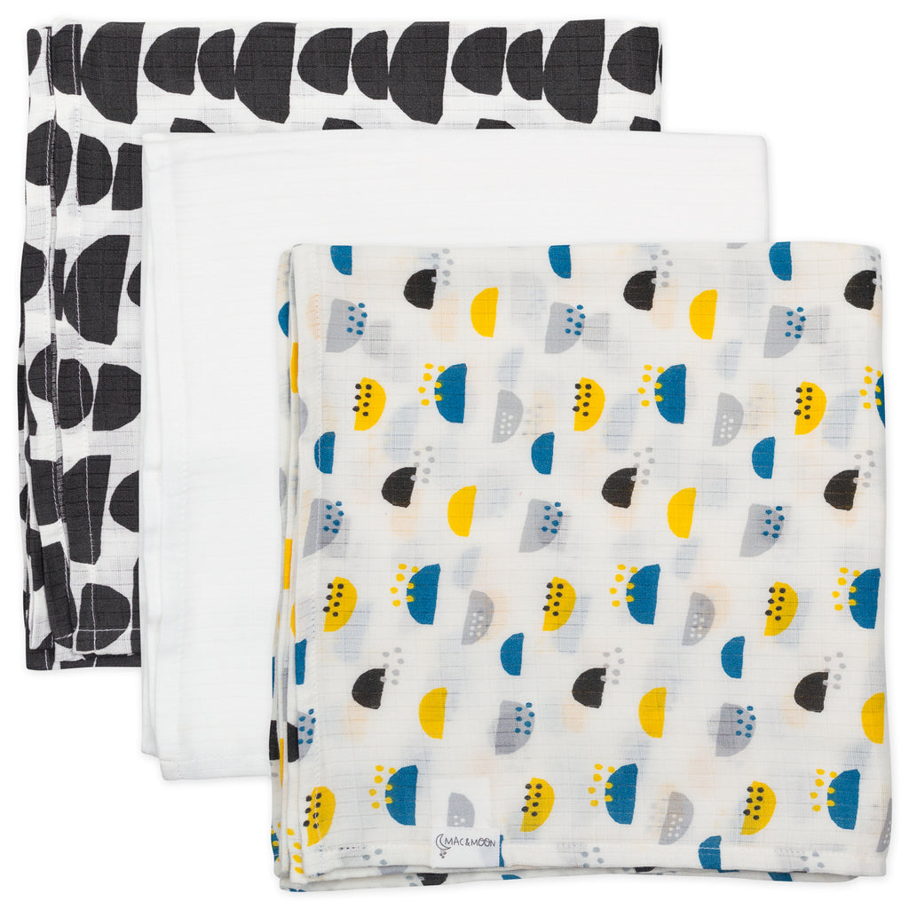 3-Pack Muslin Swaddles in Geo Prints