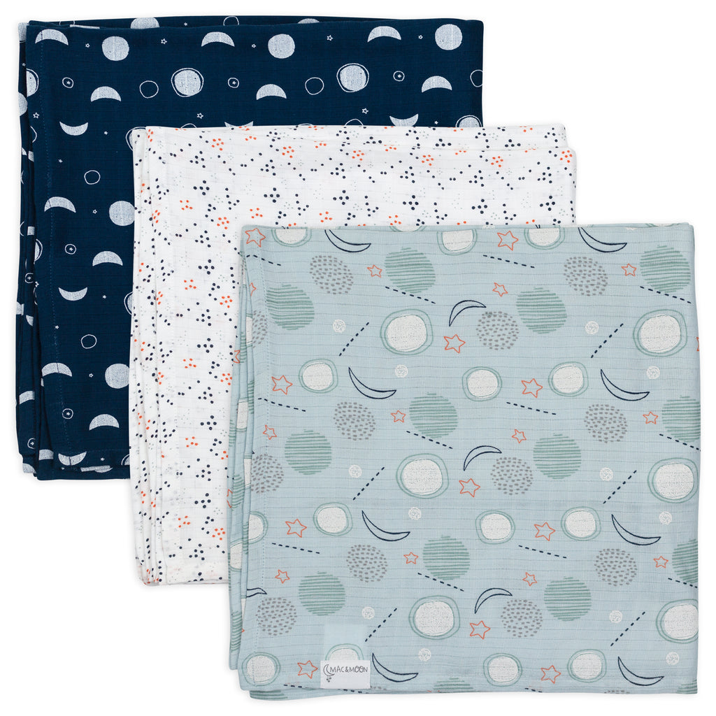 3-Pack Muslin Swaddles in Moon Print