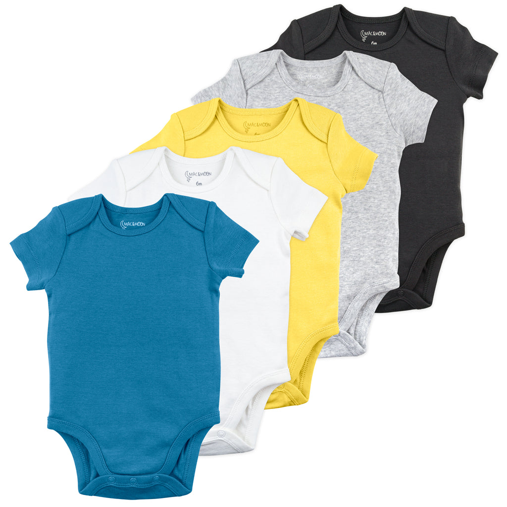 5-Pack Short Sleeve Bodysuit in Blue, Yellow and Gray