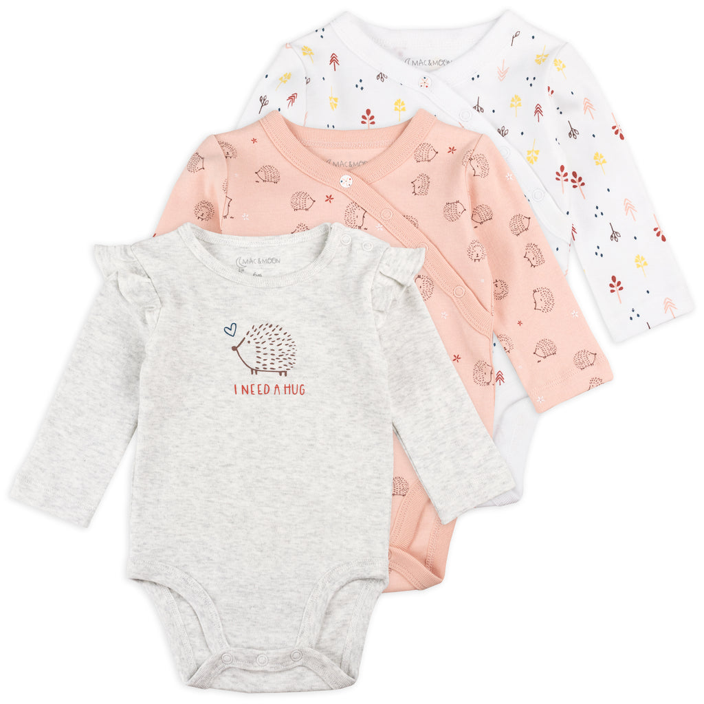3-Pack Long Sleeve Bodysuits in Hedgehog Print