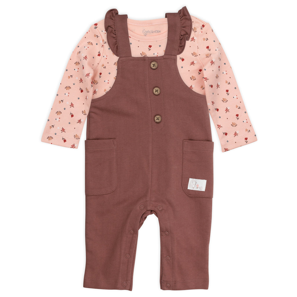 2-Piece Overall Set in Hedgehog Floral Print