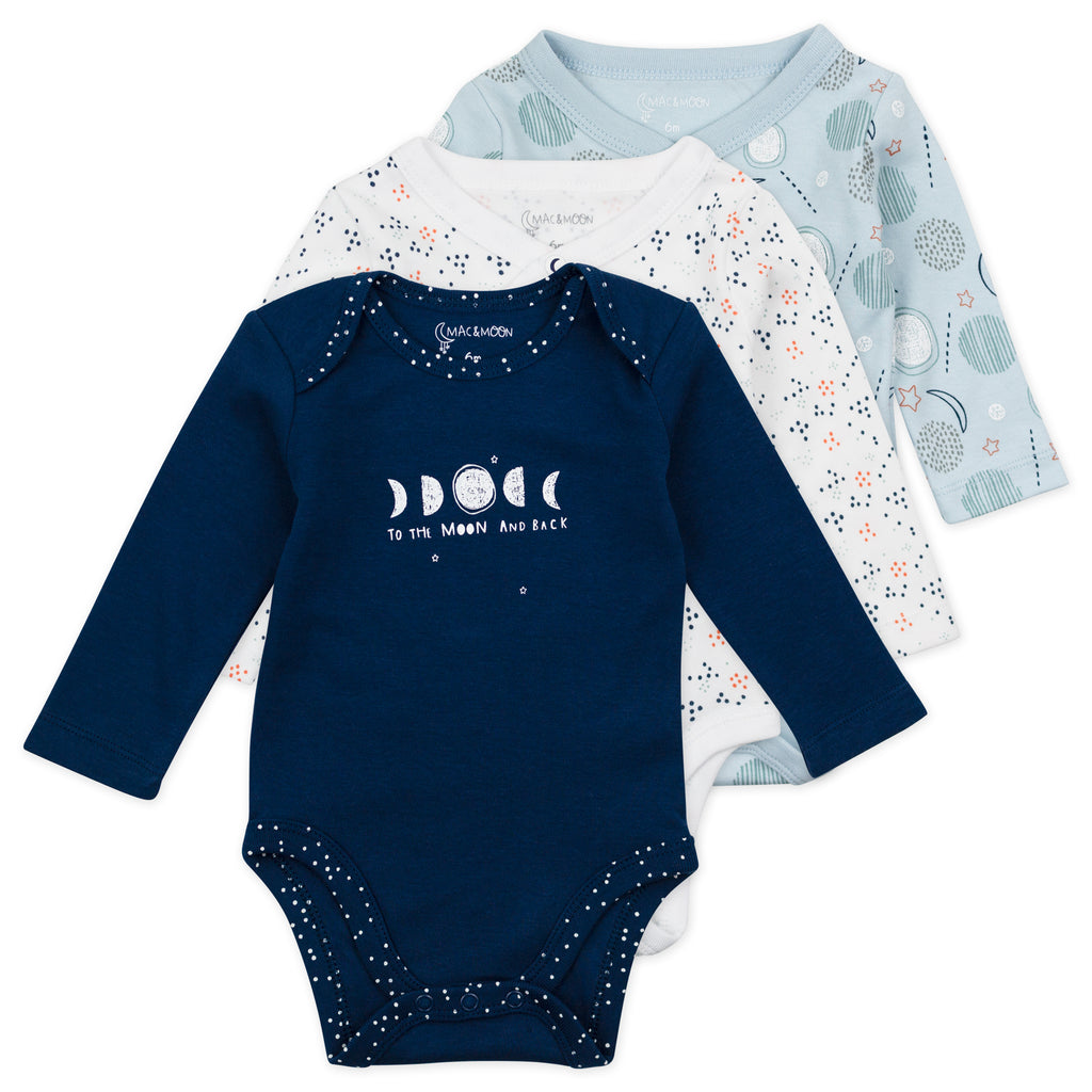 3-Pack Long Sleeve Bodysuits in Moon Print