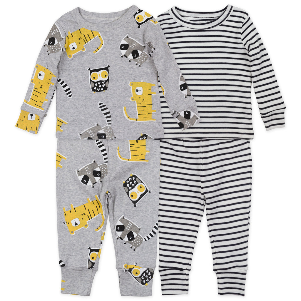 4-Piece Organic Pajama Set in Animal Print and Stripes