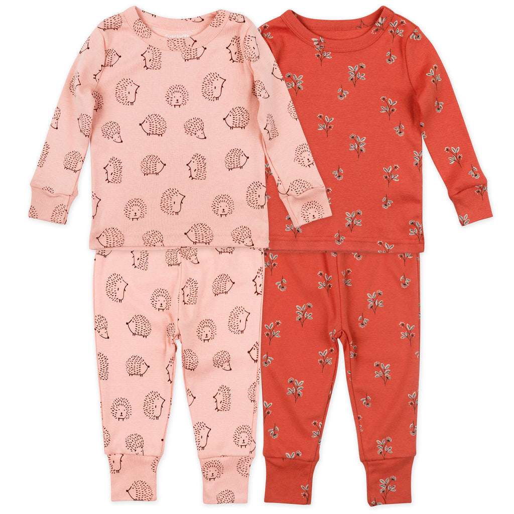 4-Piece Organic Pajama Set in Hedgehog Print