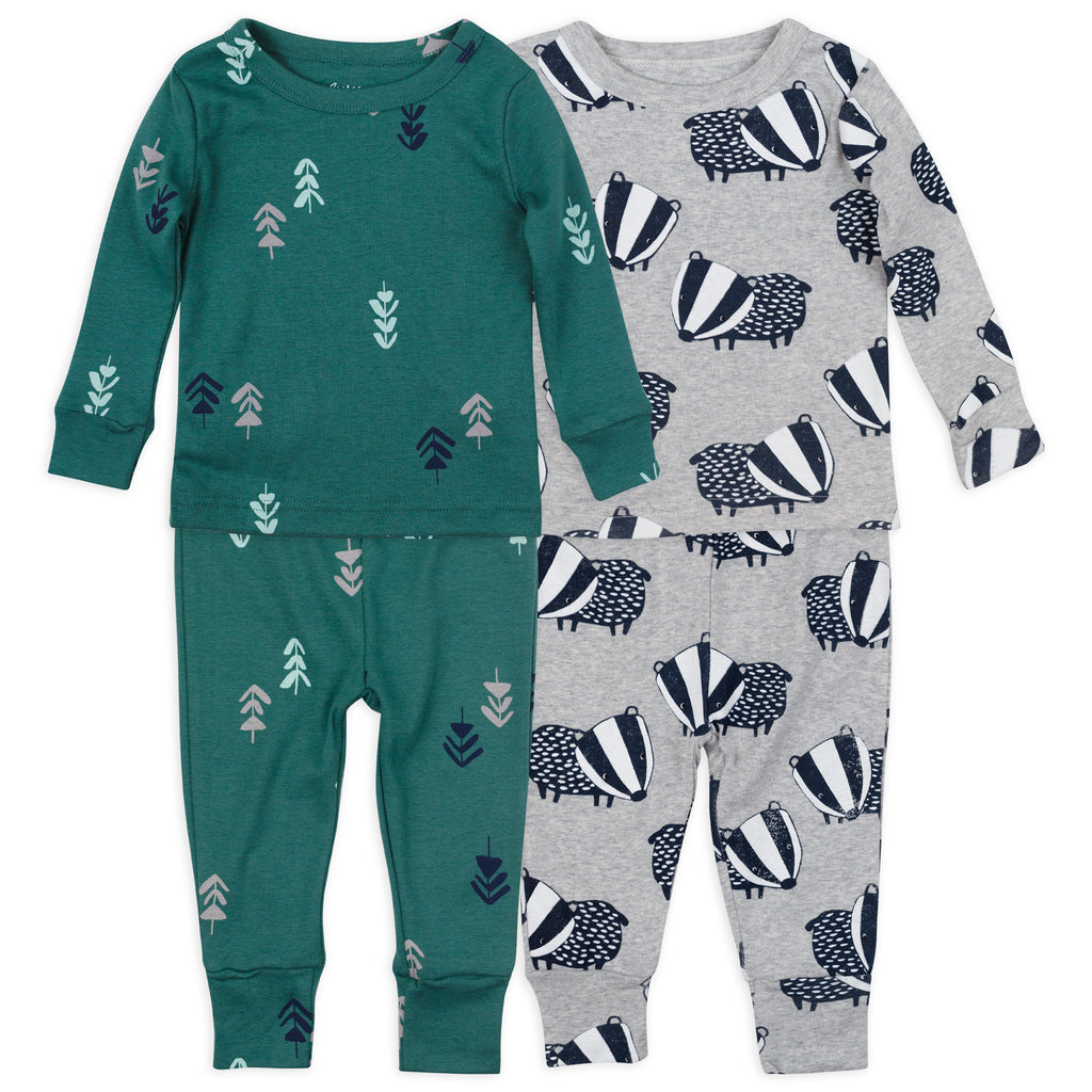 4-Piece Organic Pajama Set in Badger Print