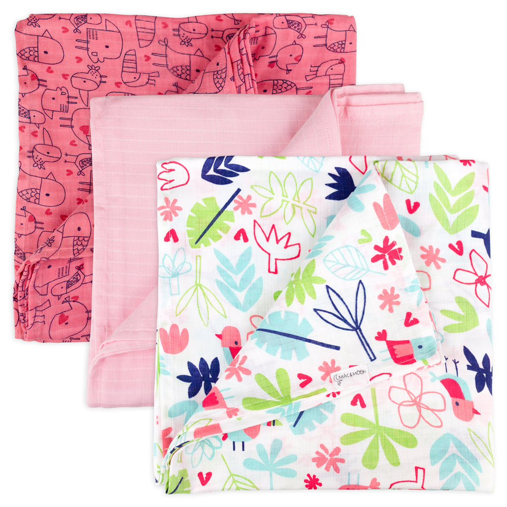 3-Pack Floral and Bird Print Muslin Swaddles