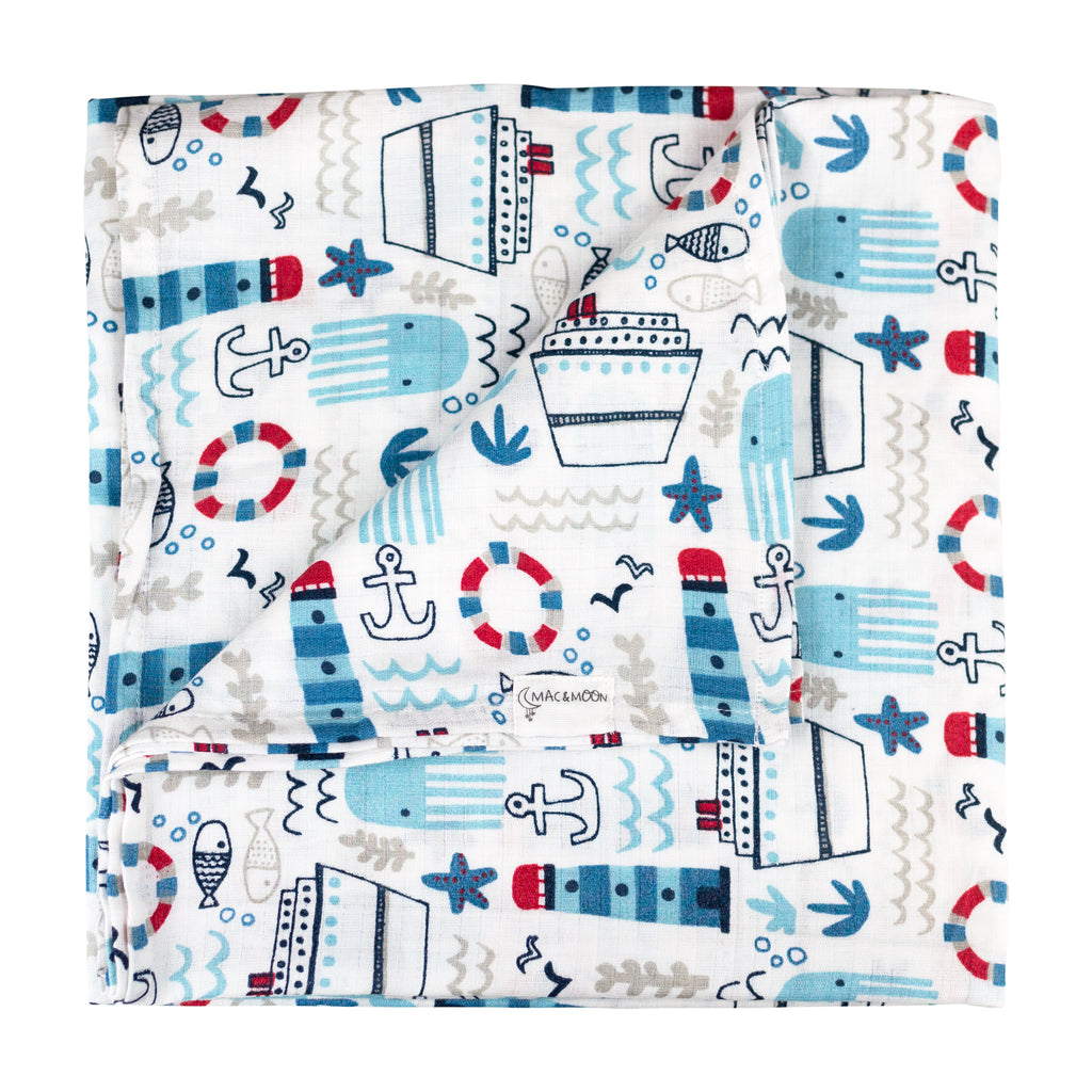 3-Pack Nautical Print Muslin Swaddles
