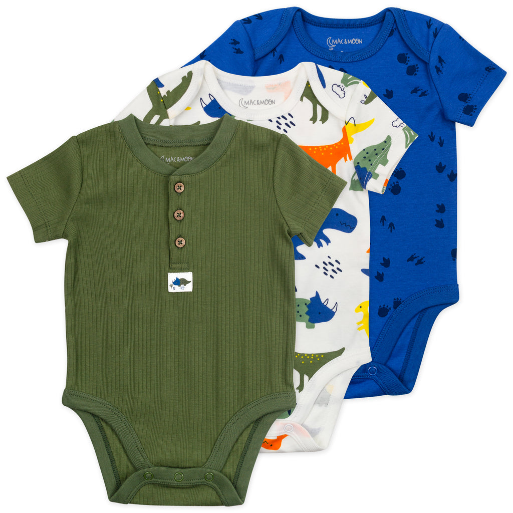 3-Pack Short Sleeve Bodysuit in Dinosaur Print