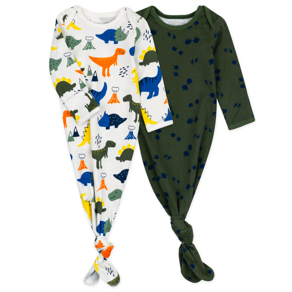 2-Pack Baby Gown in Dinosaur Print