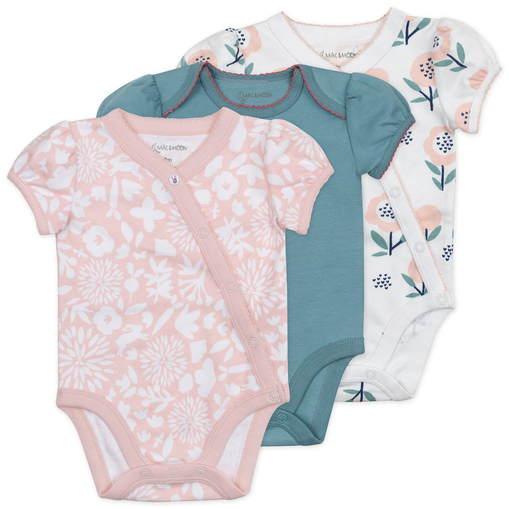 3-Pack Short Sleeve Bodysuit in Bunny Floral Print
