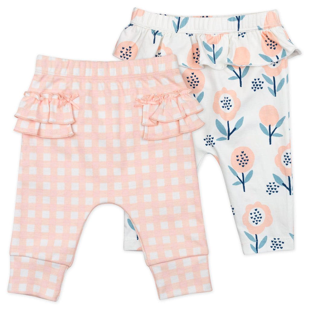 2-Pack Pant in Pink Gingham and Bunny Floral Print